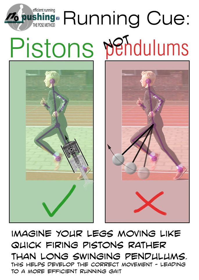 Running Cue: pistons, not pendulums. Imagine your legs moving like quick firing pistons rather than long swinging pendulums. This helps develop the correct movement - leading to a more efficient running gait.